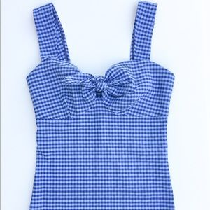 Haute couture blue gingham tie up tank top